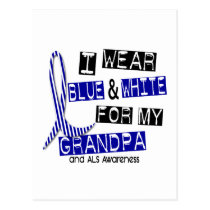 ALS I Wear Blue And White For My Grandpa 37 Postcard
