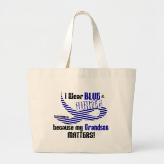 ALS I Wear Blue And White For My Grandson 33 Large Tote Bag