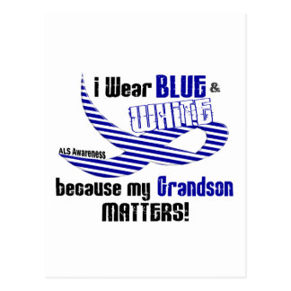 ALS I Wear Blue And White For My Grandson 33 Postcard