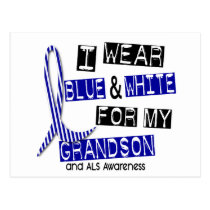 ALS I Wear Blue And White For My Grandson 37 Postcard