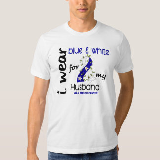 ALS I Wear Blue and White For My Husband 43 T-Shirt