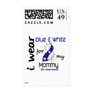 ALS I Wear Blue and White For My Mommy 43 Postage Stamp