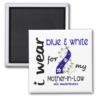 ALS I Wear Blue and White For My Mother-In-Law 43 2 Inch Square Magnet