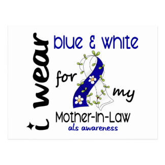 ALS I Wear Blue and White For My Mother-In-Law 43 Postcard