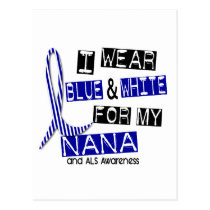 ALS I Wear Blue And White For My Nana 37 Postcard