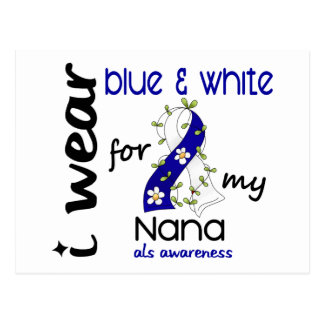 ALS I Wear Blue and White For My Nana 43 Postcard