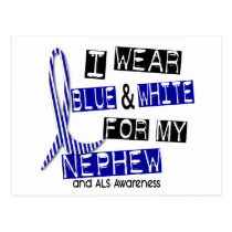 ALS I Wear Blue And White For My Nephew 37 Postcard