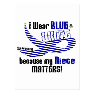 ALS I Wear Blue And White For My Niece 33 Postcard