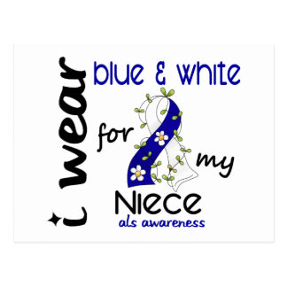 ALS I Wear Blue and White For My Niece 43 Postcard