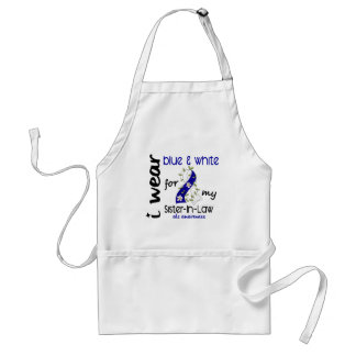 ALS I Wear Blue and White For My Sister-In-Law 43 Adult Apron