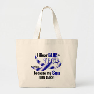 ALS I Wear Blue And White For My Son 33 Large Tote Bag