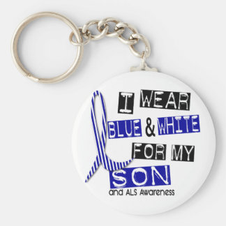 ALS I Wear Blue And White For My Son 37 Basic Round Button Keychain