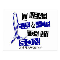 ALS I Wear Blue And White For My Son 37 Postcard
