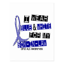 ALS I Wear Blue And White For My Son-In-Law 37 Postcard
