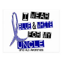 ALS I Wear Blue And White For My Uncle 37 Postcard
