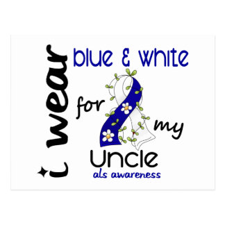ALS I Wear Blue and White For My Uncle 43 Postcard