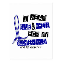 ALS I Wear Blue White For My Daughter-In-Law 37 Postcard