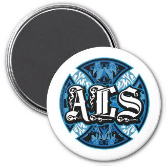 ALS Iron Cross 3 Inch Round Magnet