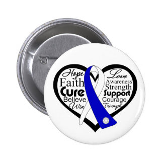 ALS Lou Gehrig's Disease Heart Ribbon Collage 2 Inch Round Button