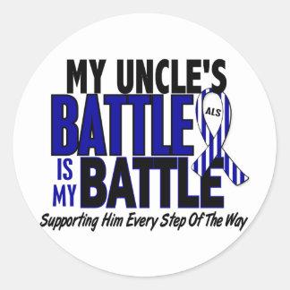 ALS mi batalla demasiado 1 tío Pegatina Redonda