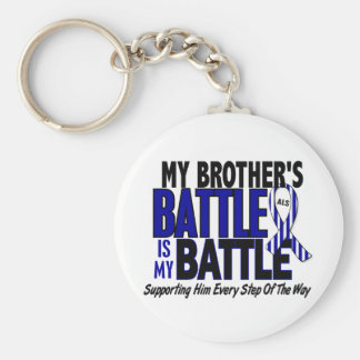 ALS My Battle Too 1 Brother Keychain
