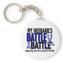ALS My Battle Too 1 Husband Keychain