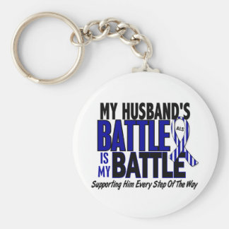 ALS My Battle Too 1 Husband Keychain