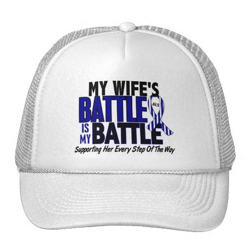 ALS My Battle Too 1 Wife Trucker Hats