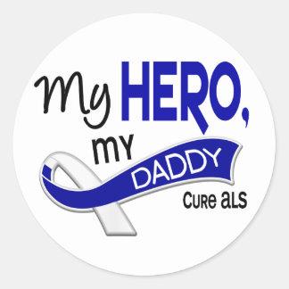 ALS My Daddy My Hero 42 Round Stickers