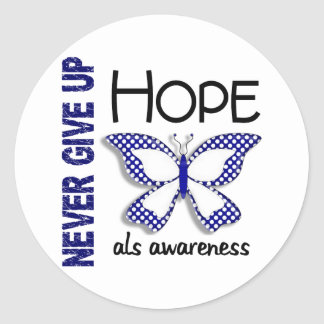 ALS Never Give Up Hope Butterfly 4.1 Classic Round Sticker