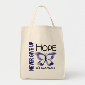 ALS Never Give Up Hope Butterfly 4.1 Grocery Tote Bag