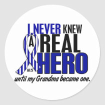 ALS Never Knew A Hero 2 Grandma Classic Round Sticker