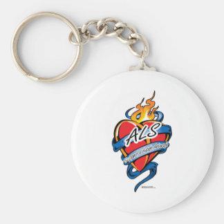 ALS Tattoo Heart Basic Round Button Keychain