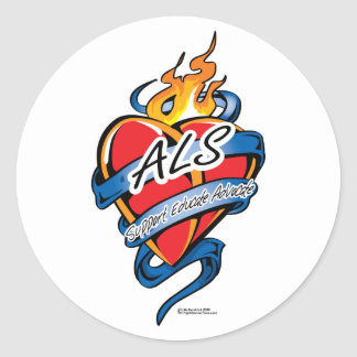 ALS Tattoo Heart Classic Round Sticker
