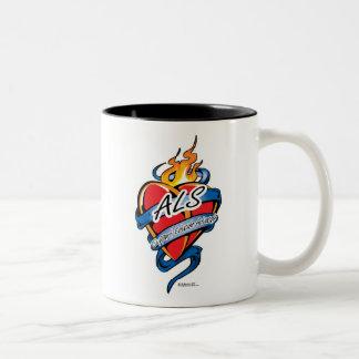ALS Tattoo Heart Two-Tone Coffee Mug
