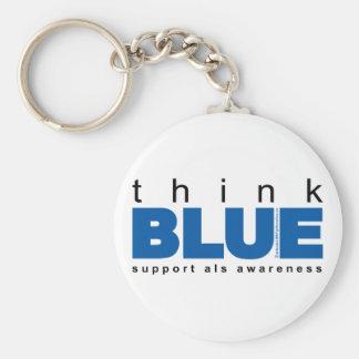 ALS Think Blue Basic Round Button Keychain