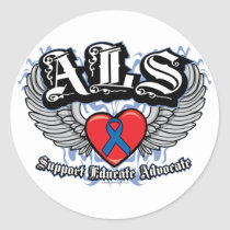 ALS Wings Classic Round Sticker