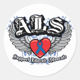 ALS Wings Classic Round Sticker
