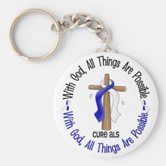 ALS With God Cross Basic Round Button Keychain