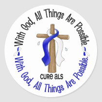 ALS With God Cross Classic Round Sticker
