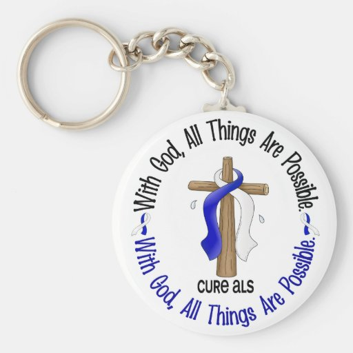 ALS With God Cross Key Chains