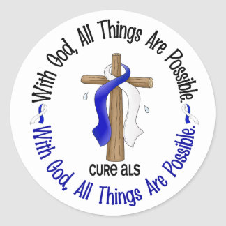 ALS With God Cross Round Stickers
