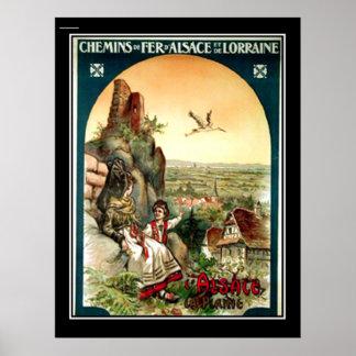 Alsace & Lorraine vintage poster France