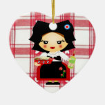 Alsace Double-Sided Heart Ceramic Christmas Ornament