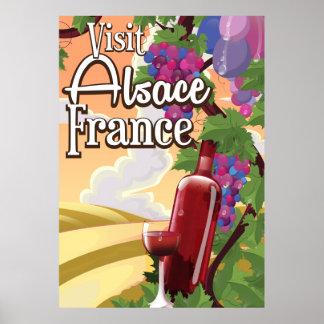 Alsace region France vintage travel poster