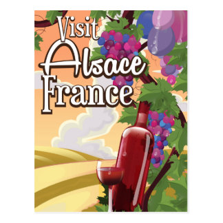 Alsace region France vintage travel poster Postcard