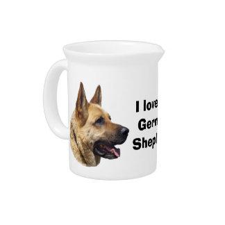 Alsatian German shepherd dog portrait Drink Pitcher