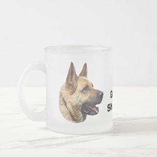 Alsatian German shepherd dog portrait Frosted Glass Coffee Mug