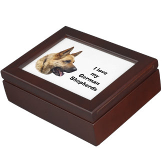 Alsatian German shepherd dog portrait Keepsake Box