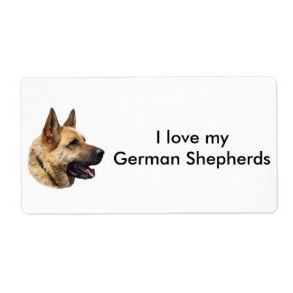 Alsatian German shepherd dog portrait Label